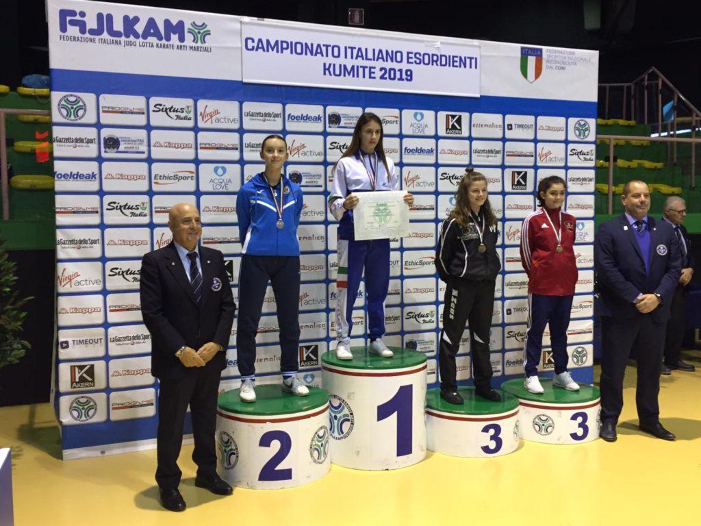 Il podio finale, Angela Briganti campionessa italiana