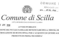 SCIILA Covid-19 Pubblicato l'avviso per i buoni spesa di prima necessità